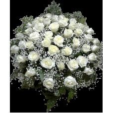 КОРЗИНА БОЛЬШАЯ «ЭЛИТ», ИЗ ЖИВЫХ ЦВЕТОВ (d-0,7м) (80 шт - розы, аспидистр)
