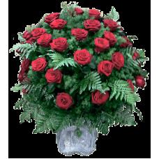 КОРЗИНА «РОЗА», ИЗ ЖИВЫХ ЦВЕТОВ (1,1м) (100 шт - розы, аспарагус, гипсофилл, рабелини)