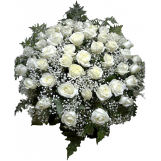 КОРЗИНА «РОЗА», ИЗ ЖИВЫХ ЦВЕТОВ (1,1м) 3 (100 шт - розы, аспарагус, гипсофилл, рабелини)