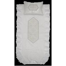 """Комплект в гроб """"ЛАДЬЯ"""" серебро парчовый (покрывало, подушка)"""