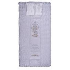 Покрывало в гроб «КРЕСТ» (вышивка крест с гроздьями винограда и молитвой белое, серебро)