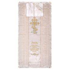 Покрывало в гроб «КРЕСТ» (вышивка крест с гроздьями винограда и молитвой, шампань, золото)