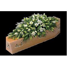 КРЕМАЦИОННАЯ КОМПОЗИЦИЯ ИЗ ЖИВЫХ ЦВЕТОВ «ЭЛИТ»(1,3 м-1,4м. роза, альстромерия, лилия,рускус)